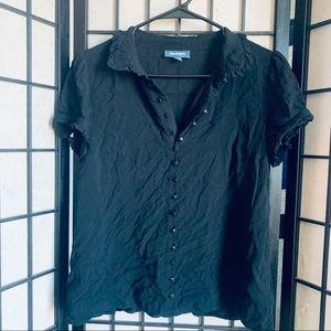 ModCloth black button down blouse sz M